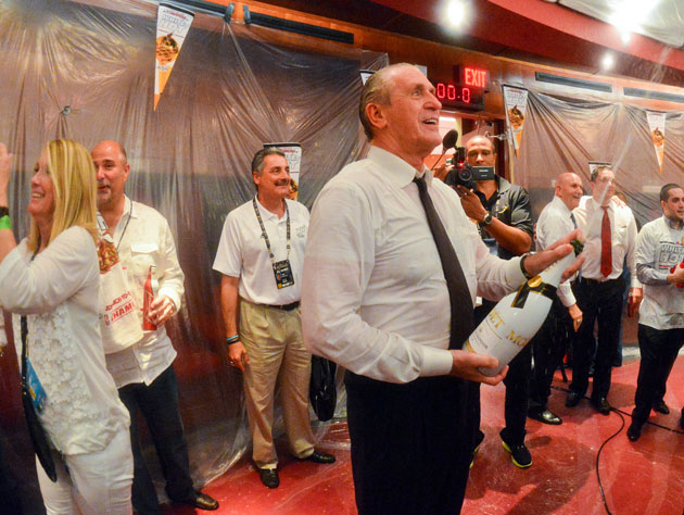 Pat Riley moved on to bubbly by the end of Game 7 (Getty Images)