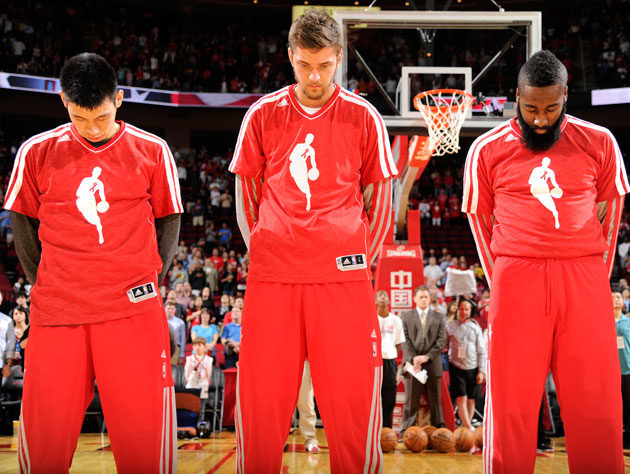 Jeremy Lin, Chandler Parsons and James Harden gets down upon the crown, baby (Getty Images)