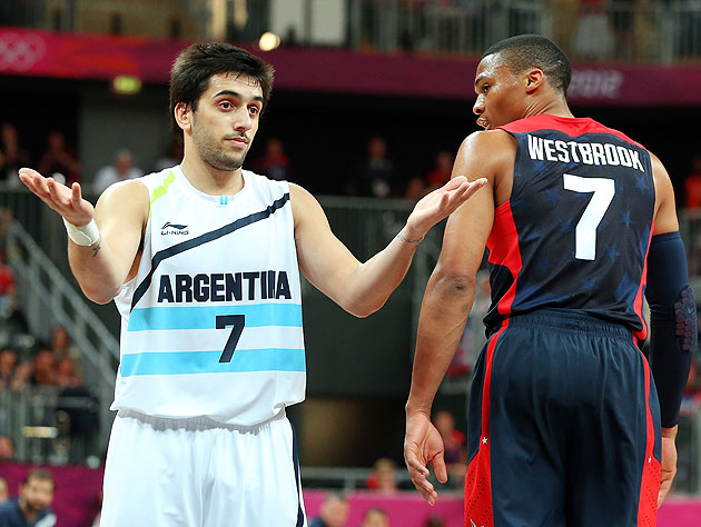 Russell Westbrook (right) and Team USA aim to have Argentina searching for answers again. (Getty Images)