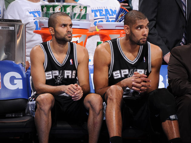 Tony Parker and Tim Duncan, on Saturday night (Getty Images)