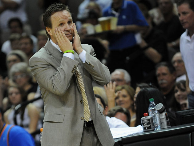 Scott Brooks gets in touch with himself. (Getty Images)