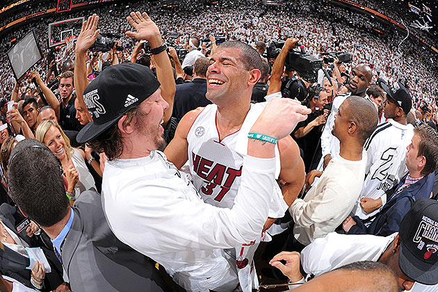 Shane Battier and Mike Miller celebrate their second straight NBA title. (Andrew D. Bernstein/NBAE/Getty Images)