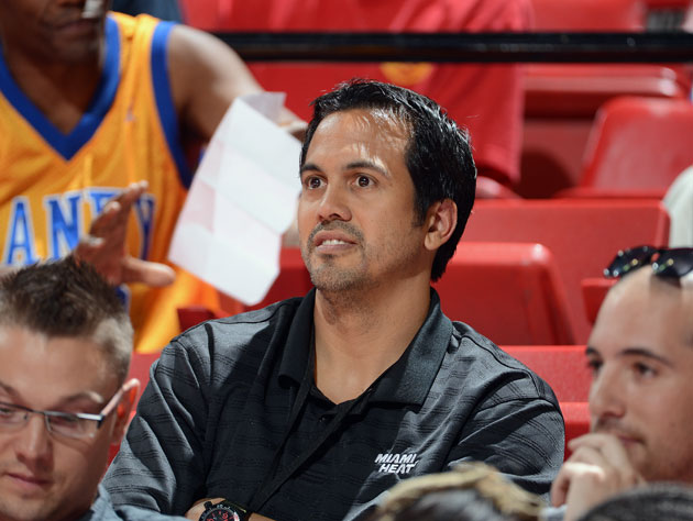 Erik Spoelstra, full of that vaction beard. (Getty Images)