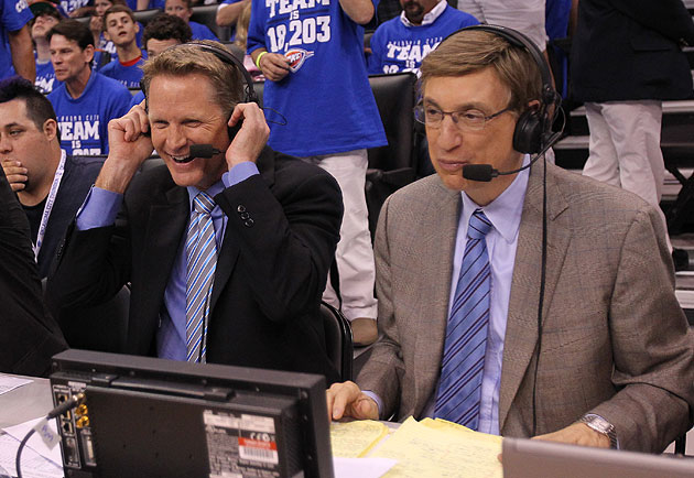 Steve Kerr and Marv Albert love that animated Chris Bosh video (probably). (Matthew Emmons-USA TODAY Sports)