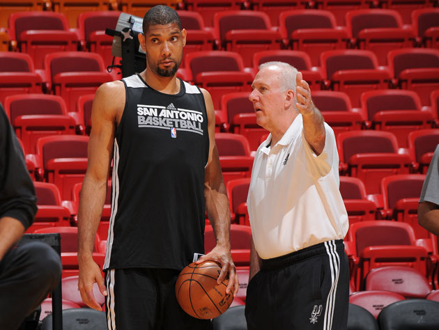 Tim Duncan and Gregg Popovich are just fine, thank you (Getty Images)