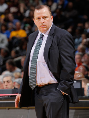 Tom Thibodeau looks down the bench, and doesn't see much (Getty Images)