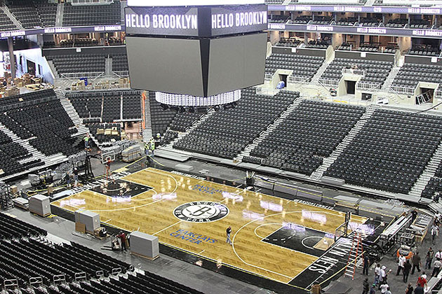 The center-hanging scoreboard welcomes Brooklyn residents. (Photo via www.nba.com/nets)