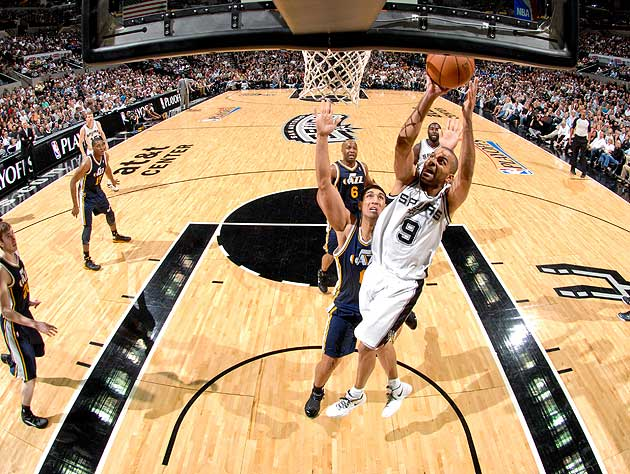Tony Parker barreling unmolested to the rim was a common sight in Game 1. (Getty Images)