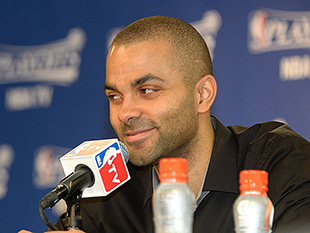 Tony Parker knows something we don't know. (D. Clarke Evans/NBA/Getty Images)