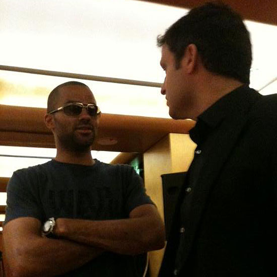 Tony Parker wears sunglasses at a press conference in Paris on Friday. (Photo via www.facebook.com/tp9network)