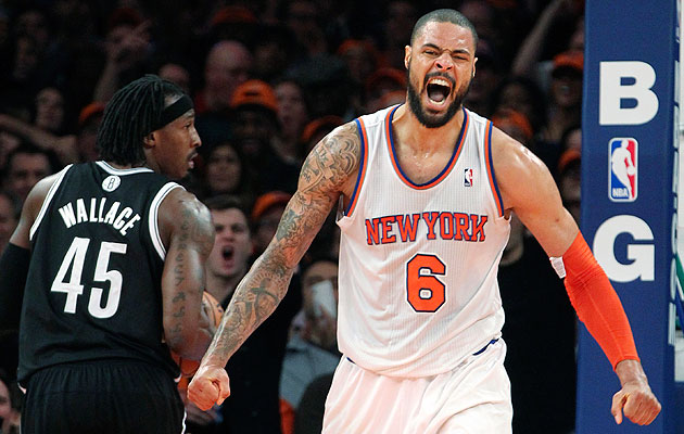 Tyson Chandler makes loud noises. (AP/Mary Altaffer)