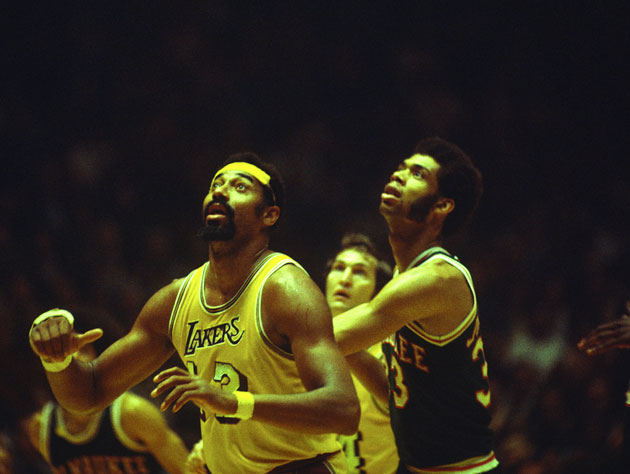 Wilt Chamberlain and Kareem Abdul-Jabbar. Not via Instagram (Getty Images)
