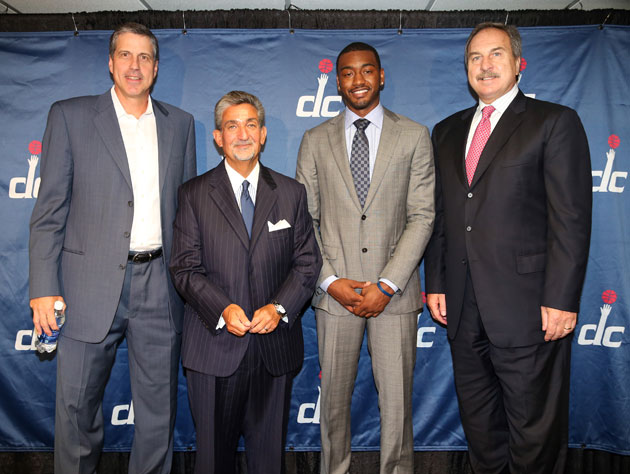 Leonsis, Grunfeld, coach Randy Wittman and star guard John Wall in August (Getty Images)