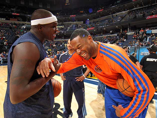 Z-Bo's so 'good with these hands' that he can double Marcus Camby over by barely touching him. (Getty Images)