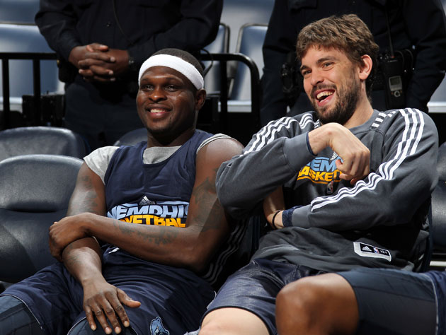 Zach Randolph and Marc Gasol, jokin' around (Getty Images)