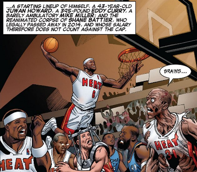 Zombie Shane Battier terrorizes an NBA court (via ESPN the Magazine and Marvel).
