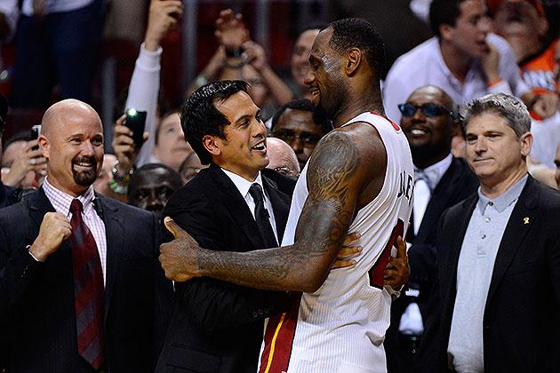 Erik Spoelstra and LeBron James celebrate another shuffleboard victory (Ronald Martinez/ Getty).