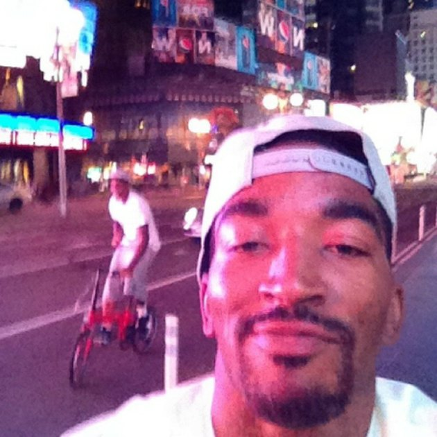 J.R. hangs out in Times Square (via teamswish on Instagram).