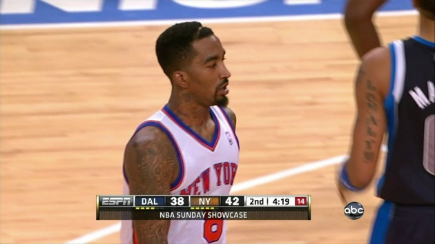 J.R. Smith displays his totally normal haircut (screengrab via Deadspin.com).