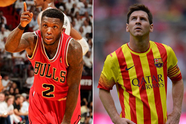 Nate Robinson wants Lionel Messi to look at a cool bird (Isaac Baldizon/ Getty and Stuart Franklin/ Bongarts).