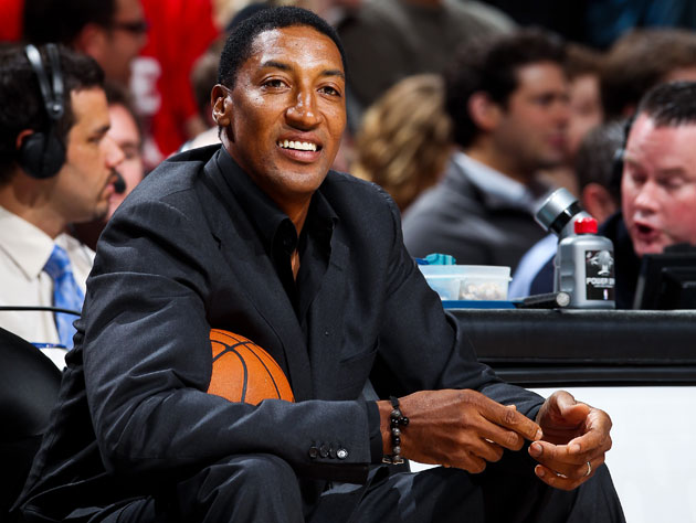 Scottie Pippen's courtside seat at Chicago's United Center (Getty Images)
