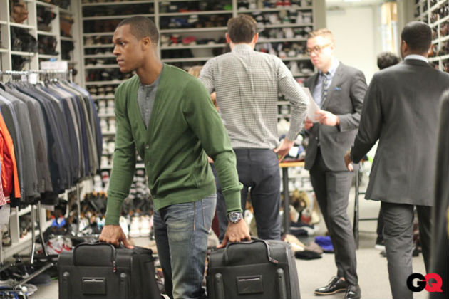 Rajon Rondo does grunt work for GQ (Nate Erickson/ GQ.com).