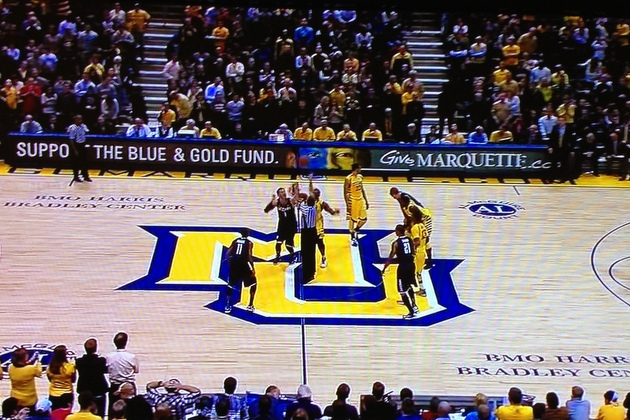 Referees had UConn and Marquette line up the wrong way to start overtime (photo via CollegeBasketballTalk)