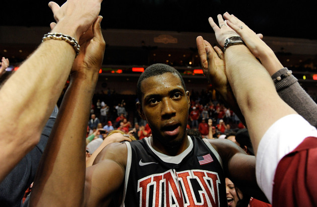 Mike Moser celebrates last year's UNLV win over North Carolina (Getty Images)