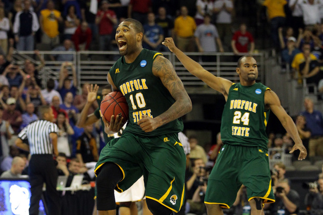 Kyle O'Quinn and Brandon Wheeless celebrate Norfolk State's win over Missouri (Getty Images)
