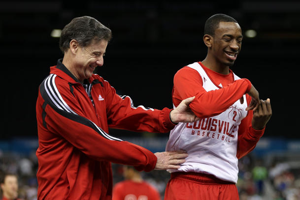 Rick Pitino and Russ Smith during practice on the eve of the Final Four (Getty Images)