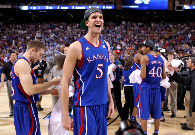 Jeff Withey hopes to lead Kansas to an eighth straight Big 12 title (Getty Images)