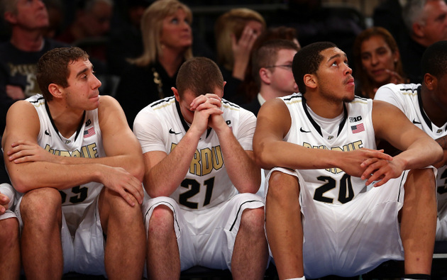 D.J. Byrd is despondent on the bench after his flagrant foul enabled Villanova's late comeback (Getty Images)