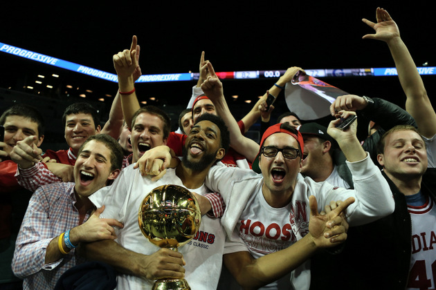 Indiana celebrates beating Georgetown (Getty Images)