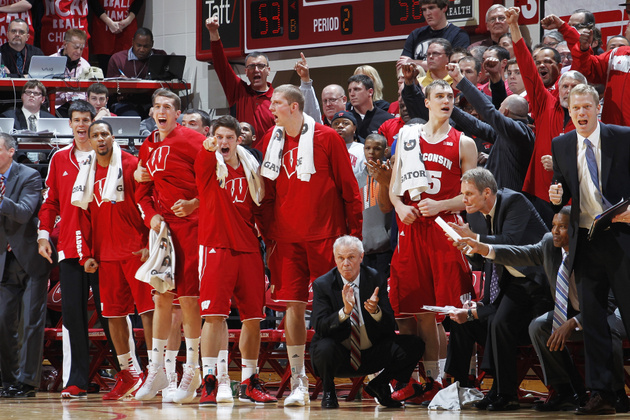 Wisconsin's bench celebrates its 64-59 win over Indiana (Getty Images)