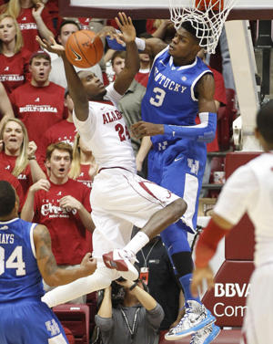 Kentucky's Nerlens Noel blocks shot by Alabama's Devonta Pollard (Getty Images)
