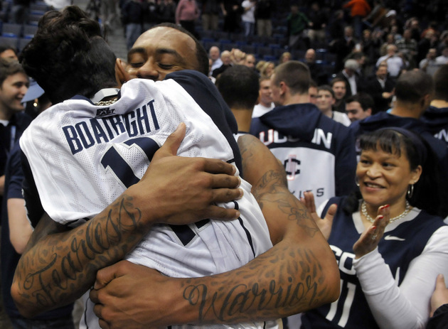 Ryan Boatright celebrates after UConn's upset of Syracuse on Wednesday night (Getty Images)