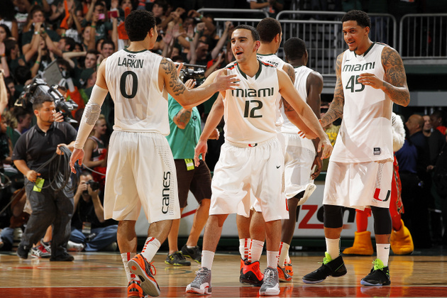 Shane Larkin and Miami celebrate a 54-50 victory over Virginia (Getty Images)