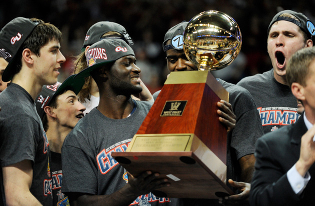 Gonzaga celebrates its WCC tournament title (Getty Images)
