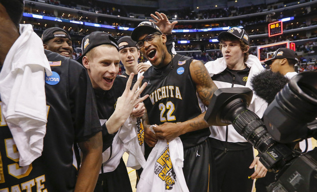 Wichita State players celebrate beating Ohio State last Saturday (Getty Images)
