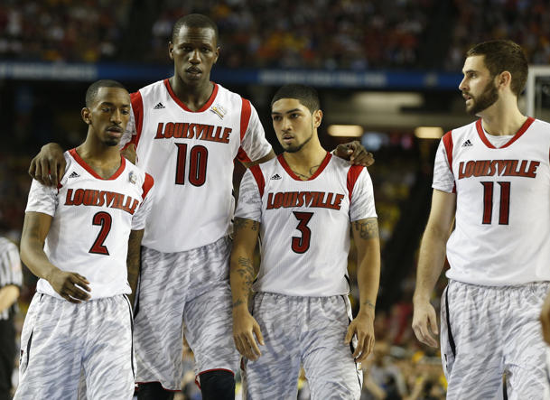 Russ Smith, Gorgui Dieng, Peyton Siva and Luke Hancock (Getty Images)