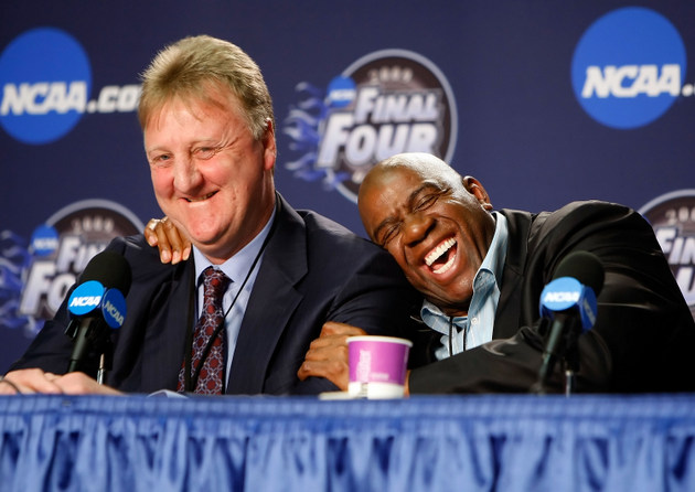Larry Bird and Magic Johnson share a laugh at the 2009 Final Four (Getty Images)