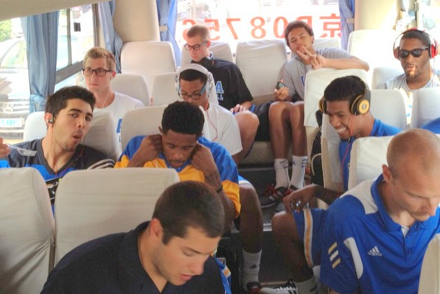 UCLA rides to its first game on a slightly dented bus (via @UCLAMBB)