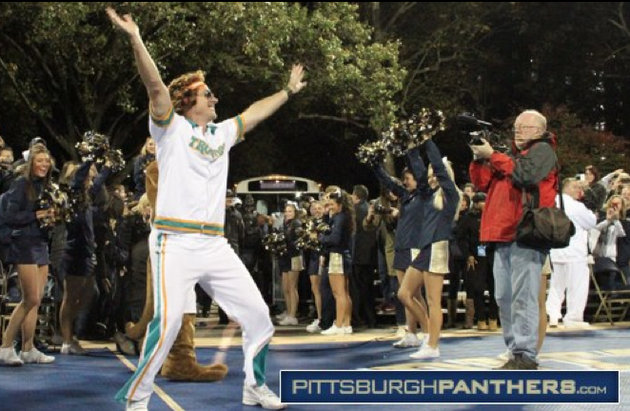 Jamie Dixon poses as Jackie Moon, Will Ferrell's character from Semi-Pro (via Pittsburgh Athletics)