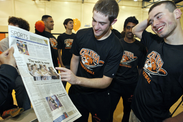 Caltech players celebrate a 46-45 win over Occidental College last year. (AP)