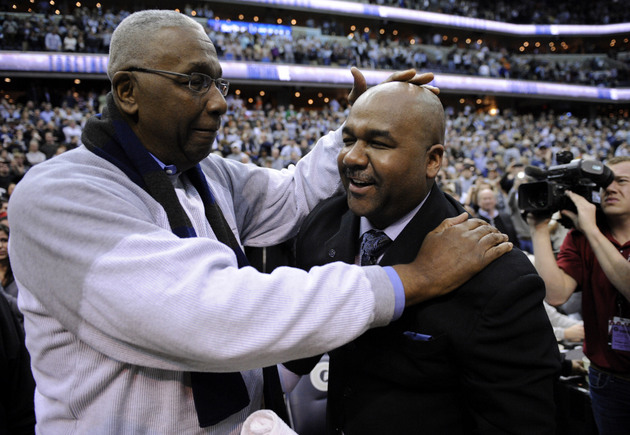John Thompson Jr. congratulates his son after Georgetown's win over Syracuse (AP)