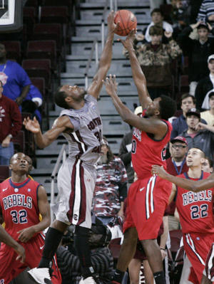 South Carolina's Lakeem Jackson blocks a shot by Mississippi's Nick Williams (AP)