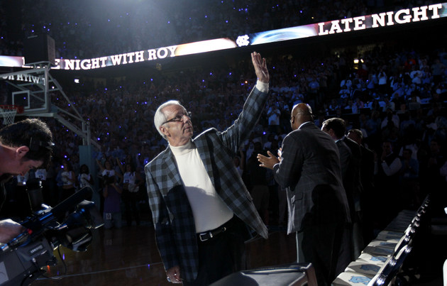 "Roy Williams waves to the crowd during ""Late Night with Roy"" (AP)"