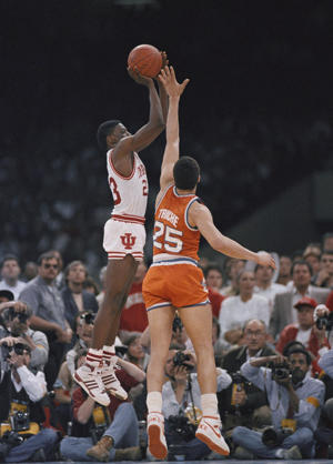 Howard Triche's closeout was too late to prevent Keith Smart from sinking his title-clinching jumper in 1987 (AP)