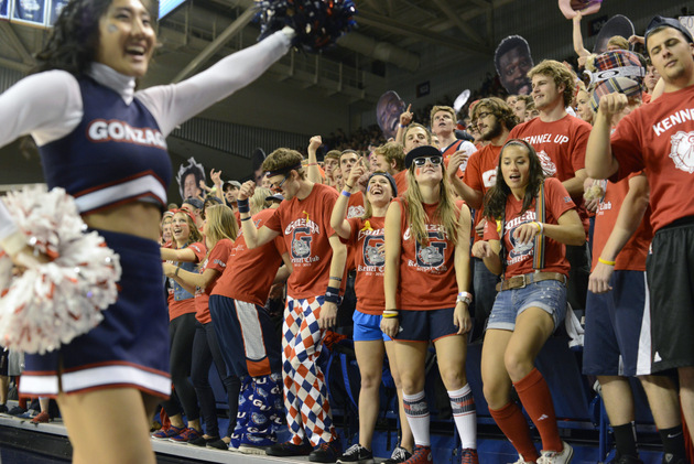 Gonzaga's student section enjoyed the Zags' late-night rout of West Virginia (AP)