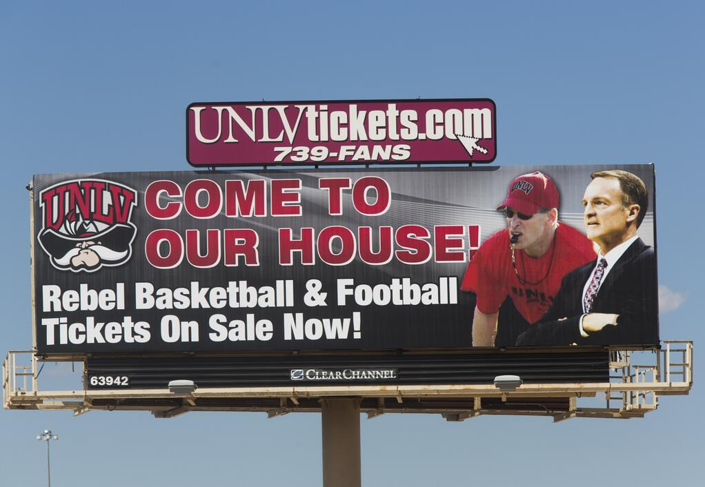 UNLV had this billboard taken down earlier this week (Photo by the Las Vegas Review-Journal)